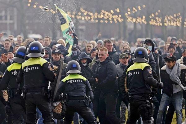 اعتراض به محدودیت های کرونایی در هلند، پلیس به زور متوسل شد